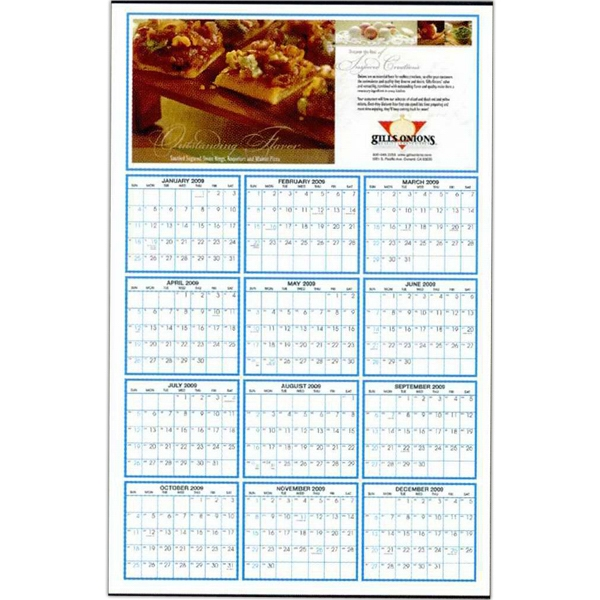 "Custom Color 22"" X 34"", 100 Lb. Gloss Enamel, Year On A Page Wall Calendar Photo"