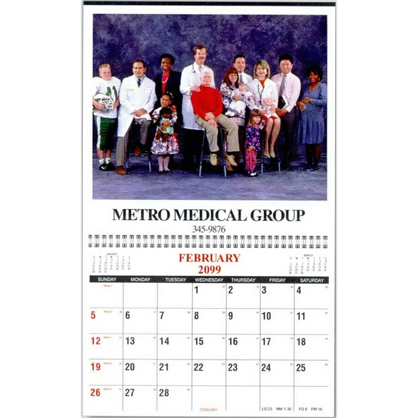 "Wall Calendar With Single Custom Photo With Deluxe Spiral Binding, 11"" X 16 1/2"" Photo"