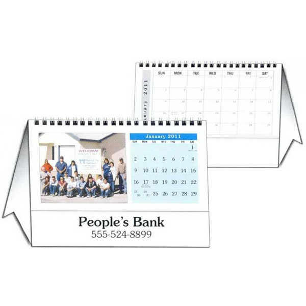 "8.5"" X 6"" - Custom Tent Desk Calendar With 12 Different Full Color Photos And Wire-o Binding Photo"