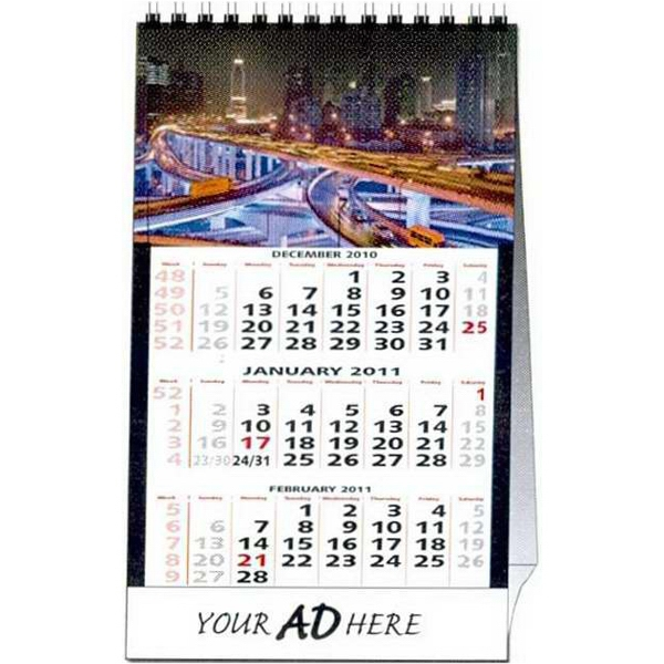 Custom Tent Desk Calendar With 12 Different Full Color Photos And Wire-o Binding Photo