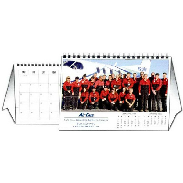 "8.5"" X 5.5"" - Custom Tent Desk Calendar With 12 Different Full Color Photos And Wire-o Binding Photo"