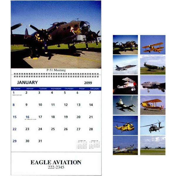 Spiral Bound Photo Calendar With Memo Blocks And 12 Military Aircraft Scenes Photo