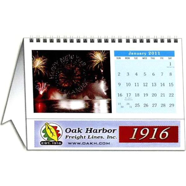 Personalized 12 Image Horizontal Desk Tent Calendar Photo