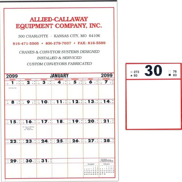 "19"" X 28"" - Super Size 12 Sheet Contractor's Calendar With 2 3/4"" Memo Square And Tinned At Top Photo"