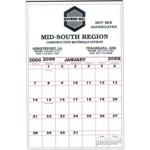 "21"" X 32"" - Super Size 12 Sheet Contractor's Calendar With 2 3/4"" Memo Square And Tinned At Top Photo"