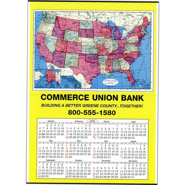 U.s. - Jumbo Map Wall Calendar Is Tinned At Top And Bottom Photo