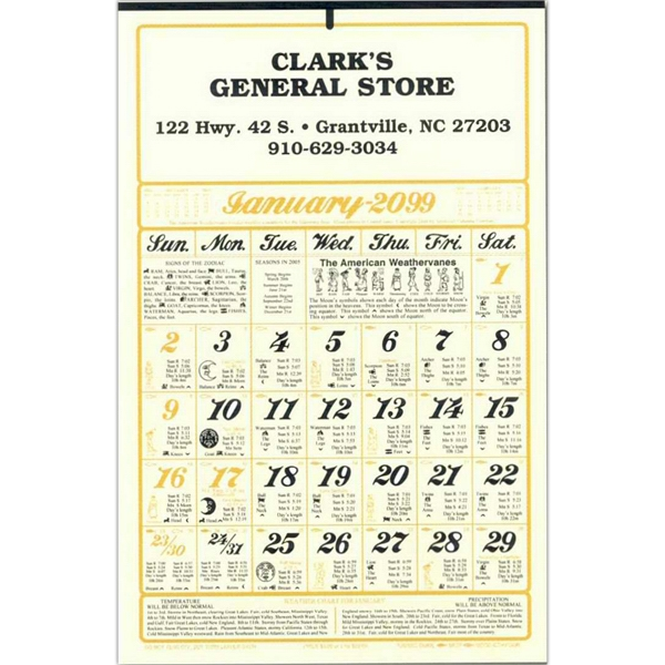 Almanac Calendar With Six Sheets Printed On The Front And Back And 3000 Info Bits Photo
