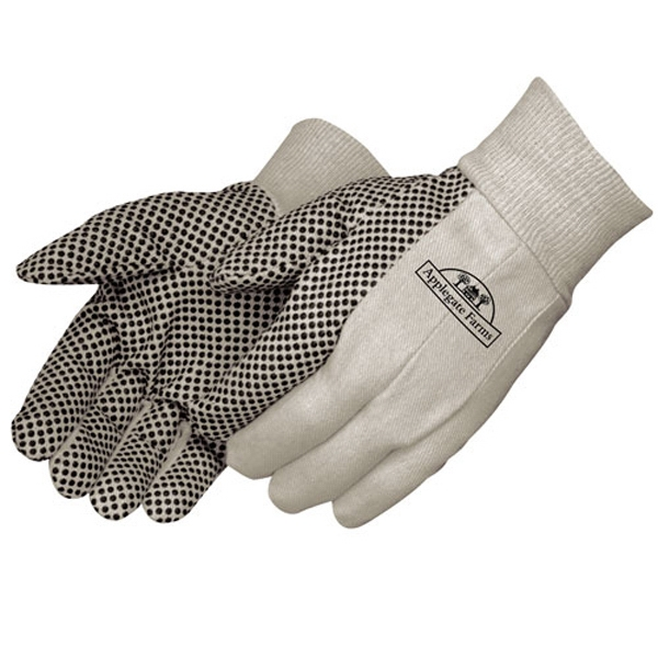 Canvas Work Gloves With Black Pvc Dots On Palm, Index Finger And Thumb Photo
