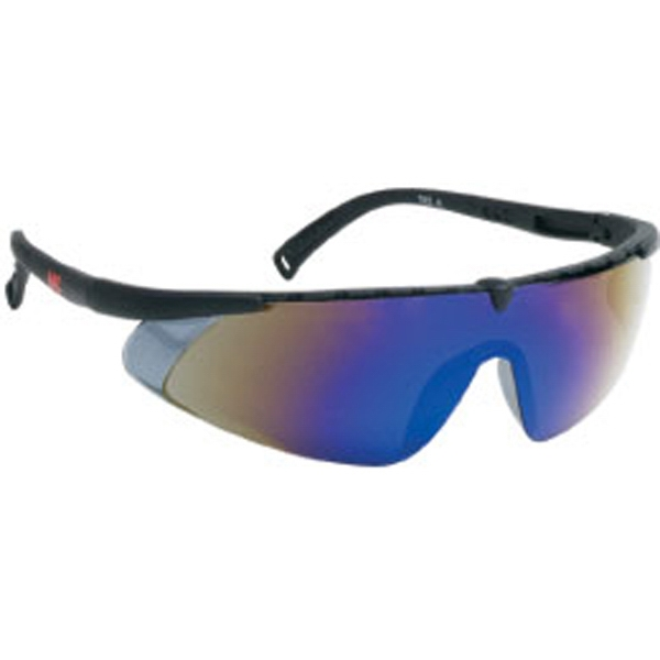 Blue Mirror Lens - Black - Single-piece Lens Safety Glasses Photo