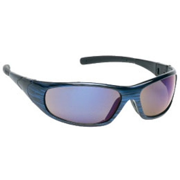 Sports Style Safety Glasses With Blue Mirror Lens And Frame Photo