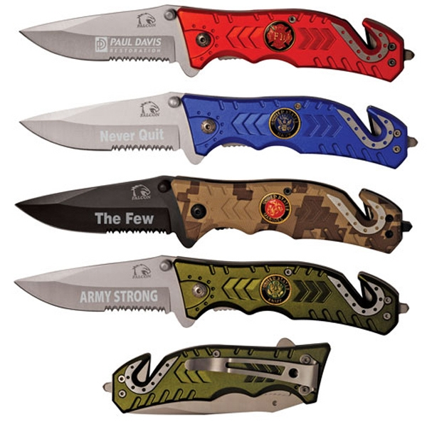 Premium (r) - Silver-red - Theme Rescue Knife With Emblem Photo