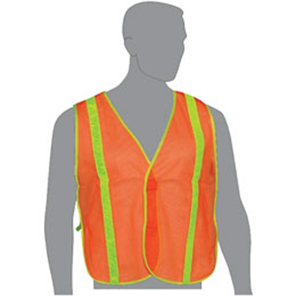 "Orange - Mesh 100% Fluorescent Polyester Safety Vest With 1"" Wide Pvc Stripes Photo"