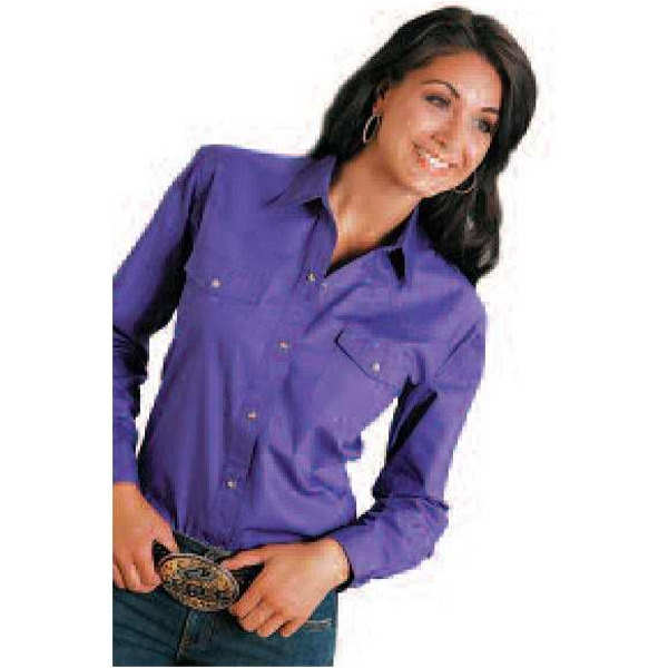 Ladies Long Sleeve Solid Poplin Shirt With Snaps