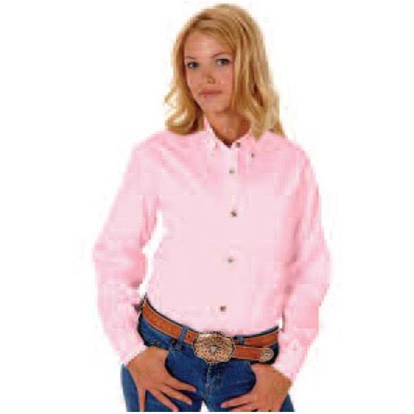 Ladies L/S Solid Poplin Shirt W/Snaps