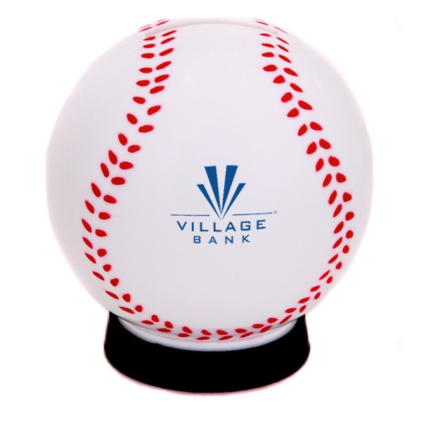 Plastic Baseball Shaped Coin Bank With A Bottom Removable Cap Photo