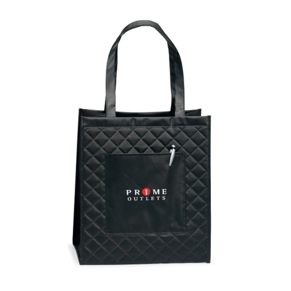 "Soho - Black - Quilted Laminated Non-woven Shopper Bag With 22.5"" Shoulder Straps Photo"
