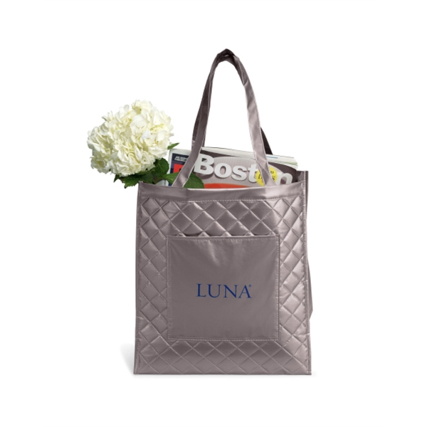 "Soho - Metallic Silver - Quilted Laminated Non-woven Shopper Bag With 22.5"" Shoulder Straps Photo"