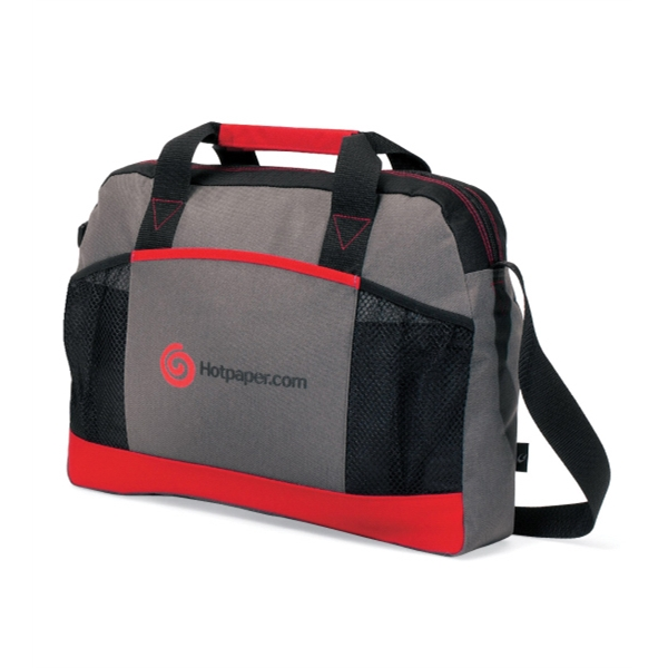Essential - Red - Business Portfolio With Front Mesh Pocket And Adjustable Shoulder Strap Photo