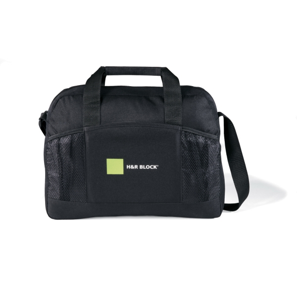 Essential - Black - Business Portfolio With Front Mesh Pocket And Adjustable Shoulder Strap Photo