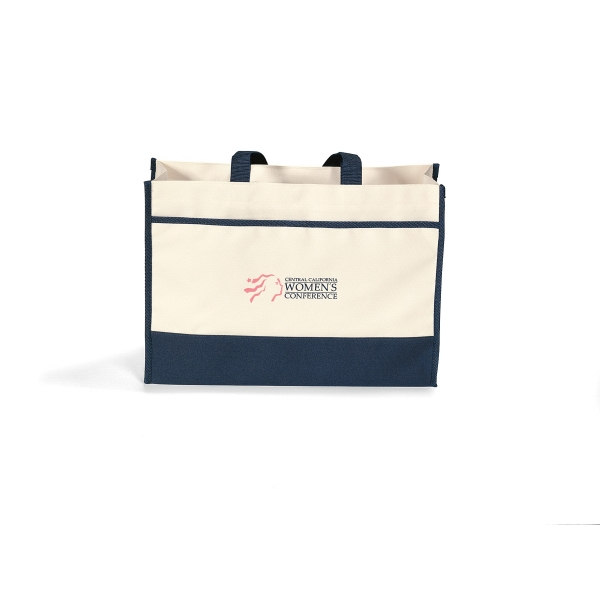 Contemporary - Navy Blue - Tote Bag With Large Main Compartment With Snap Closure Photo