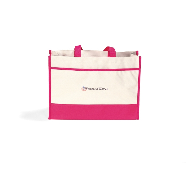 Contemporary - Deep Pink - Tote Bag With Large Main Compartment With Snap Closure Photo