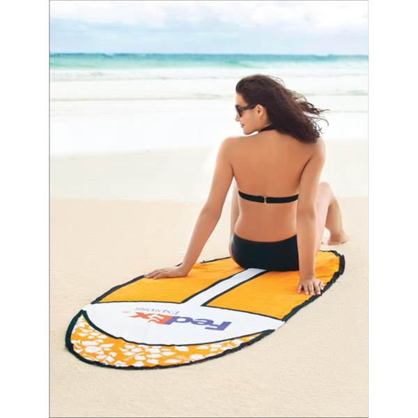 Board Towelz (r) - Blank - Terry Velour Beach Towel With Surfboard Shape And Stock Design Photo