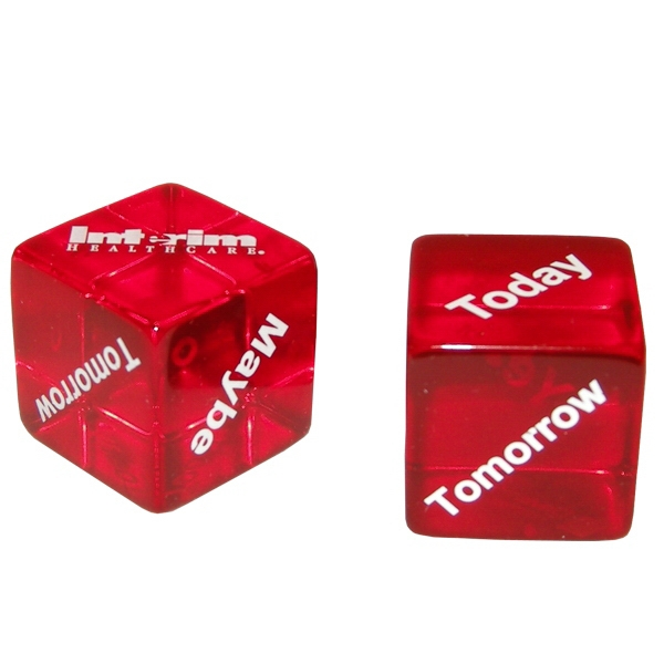 Decision Maker Dice, 5 Sides Imprinted With: Yes, No, Maybe, Tomorrow And Today Photo