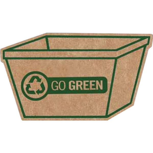 Brown Corrugated Cardboard Recycle Bin Shaped Magnet With Full Magnetic Backing Photo