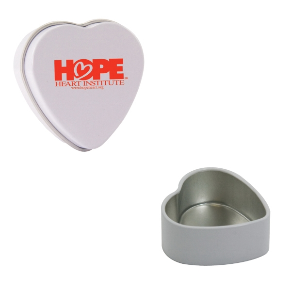 Mint Tin Maniacs - White Empty Heart Tin. Heart Tin Can Be Filled With Mints, Candy, Or Gum Photo