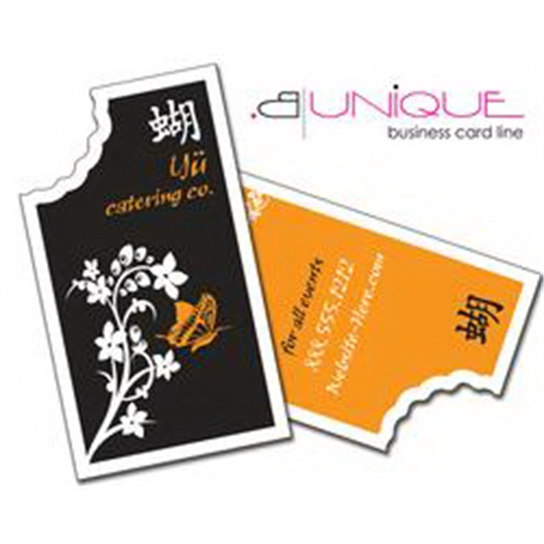 B. Unique - Rectangle With Torn Edge - Extra-thick Uv-coated (1s) Paper Business Card - Shape (3.5 X 2 ) Photo