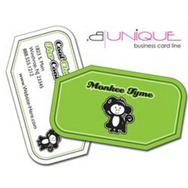 B. Unique - 2 Rounded Corners, 2 Cut Corners - Extra-thick Uv-coated (1s) Paper Business Card - Shape (3.5 X 2 ) Photo