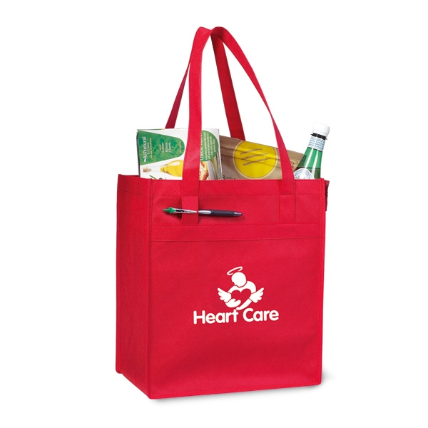 "Red - Non Woven Deluxe Grocery Shopper With 24"" Shoulder Straps Photo"