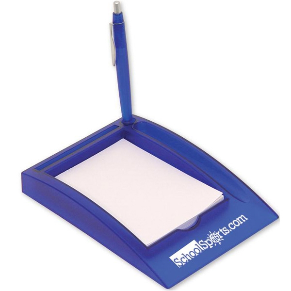 Blue - Desktop Memo Pad With Pen. Closeout Price! Available While Supplies Last! Photo
