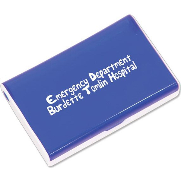 Blue - Six Slot Rectangular Pill Box. Closeout Price! Available While Supplies Last! Photo