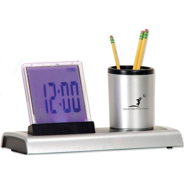 LED clock and pencil cup
