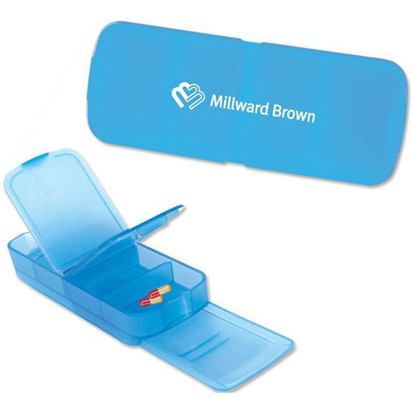 Blue - Four Slot Rectangular Pill Box. Closeout Price! Available While Supplies Last! Photo