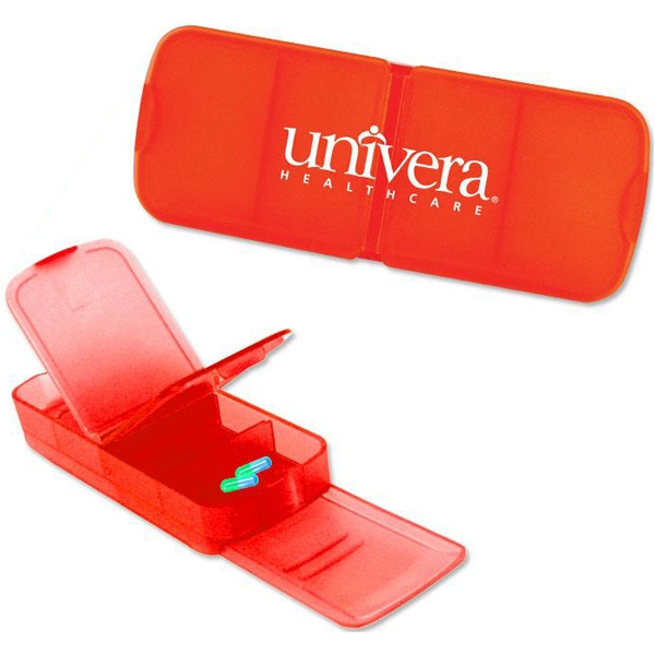 Red - Four Slot Rectangular Pill Box. Closeout Price! Available While Supplies Last! Photo