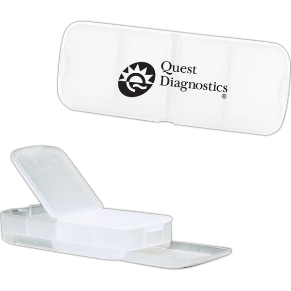 Clear - Four Slot Rectangular Pill Box. Closeout Price! Available While Supplies Last! Photo