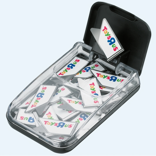 Keepaklips - 20 Full Color Logo Paper Clips Packaged In A Black Plastic Desktop Clip Dispenser Photo