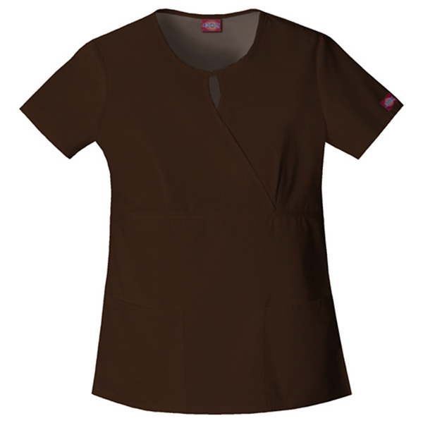 Dickies Medical - Chocolate - Sa82708 Women's Keyhole Scrub Top Photo
