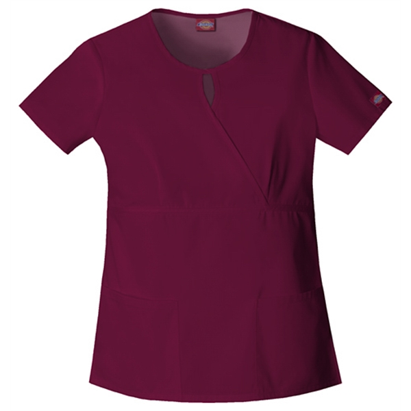 Dickies Medical - Wine - Sa82708 Women's Keyhole Scrub Top Photo