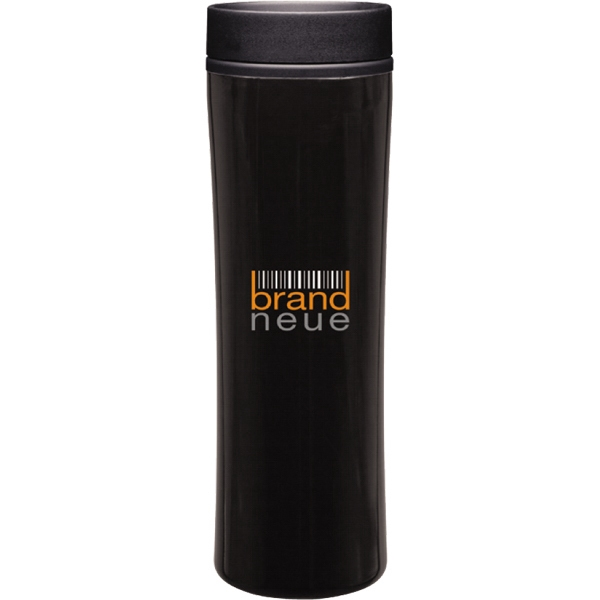 Cyrus - Black - Stainless Steel 16 Oz. Tumbler With Plastic Liner, Foam Insulated With Push On Lid Photo