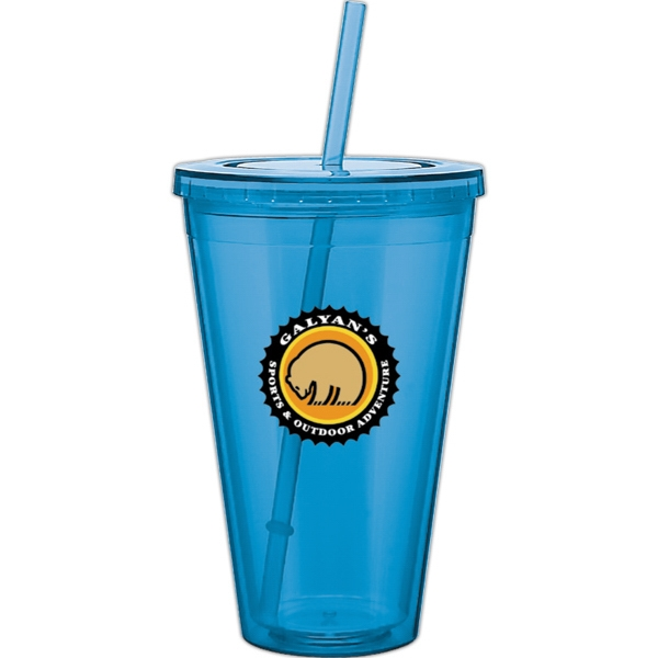 Spirit - Aqua - 24 Oz Acrylic Double Wall Tumbler With Threaded Lid And Matching Straw Photo