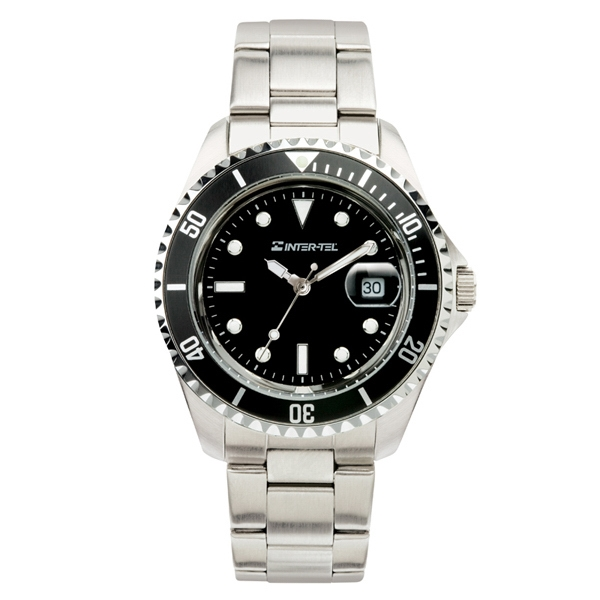 Ladies' - Watch With Silver Finish, Black Face And Magnified Date Display Photo