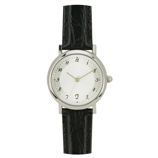 Ladies' - Polished Silver Finish Watch With Date Display, Metal Case And Quartz Movement Photo