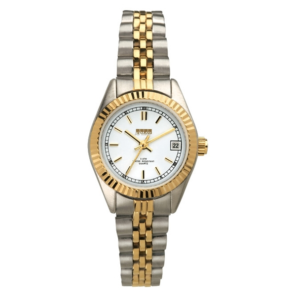 Ladies' - Two Tone Watch With Solid Brass Case, Folded Steel Bracelet And Date Display Photo