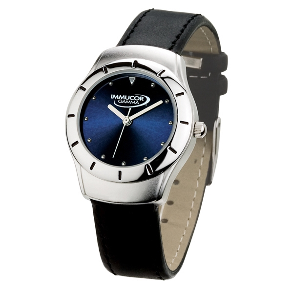 Ladies' - Watch With Blue Sunray Dial And Black Leatherette Strap Photo