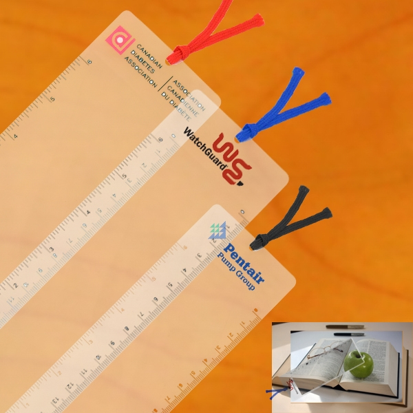 "Calatra - 3 Working Days - Paper Thin Bookmark Magnifier With A 6"" Standard And Metric Ruler And A Ribbon Photo"