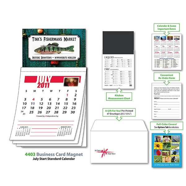 Magna-cal (tm) - Business Card Magnet Calendar - July 2012. Available To Ship 5/15/12 Through 8/14/12 Photo