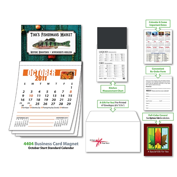 Magna-cal (tm) - Business Card Magnet Calendar -oct. 2012. Available To Ship 8/15/12 Through 11/14/12 Photo